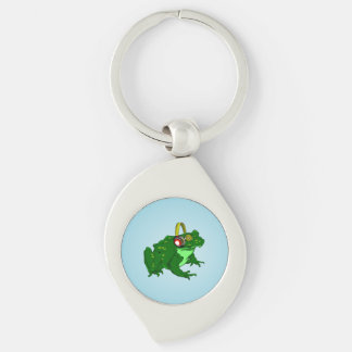 Cute Cartoon Frog Wearing Headphones Silver-Colored Swirl Keychain