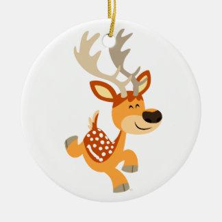 Cute Cartoon Gamboling Fallow Deer Ornament