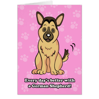 Cute Cartoon German Shepherd Greeting Card