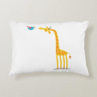 Cute cartoon giraffe and bird accent pillow