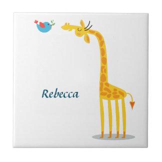 Cute cartoon giraffe and bird ceramic tiles