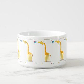Cute cartoon giraffe and bird chili bowl