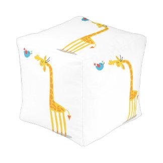 Cute cartoon giraffe and bird cube pouf