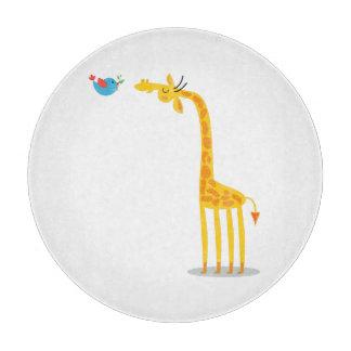 Cute cartoon giraffe and bird cutting board