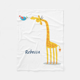 Cute cartoon giraffe and bird fleece blanket