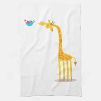 Cute cartoon giraffe and bird hand towel
