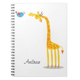 Cute cartoon giraffe and bird spiral note book