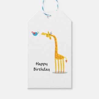 Cute cartoon giraffe and bird pack of gift tags