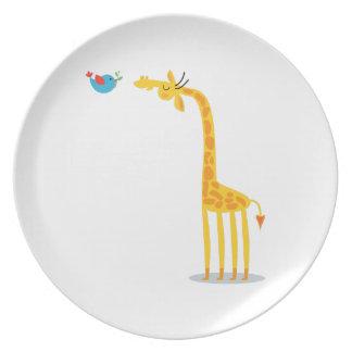 Cute cartoon giraffe and bird plates