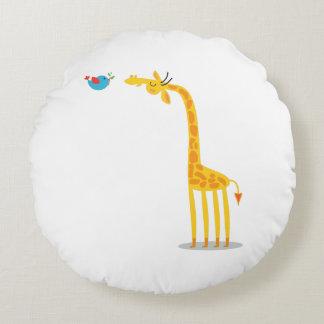 Cute cartoon giraffe and bird round pillow