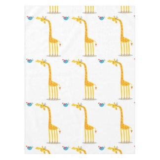 Cute cartoon giraffe and bird tablecloth