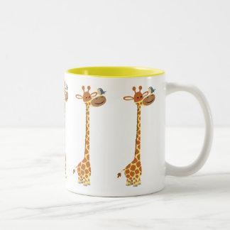 Cute Cartoon Giraffe And Friend Two-Tone Coffee Mug