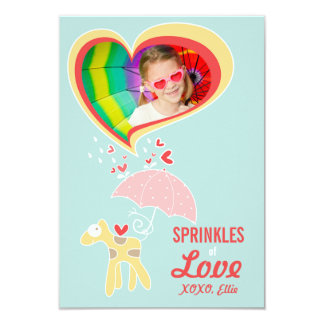 "Cute Cartoon Giraffe Classroom Kid Valentine Photo 3.5"" X 5"" Invitation Card"