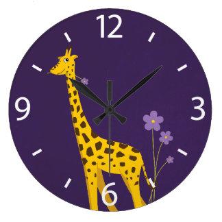 Cute Cartoon Giraffe Flowers Purple Wall Clock