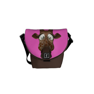 Cute Cartoon Giraffe Pink & Brown Messenger Bags