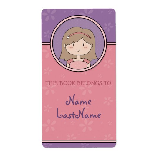 Cute Cartoon Girl Custom Bookplates / Ex Libris Shipping Label