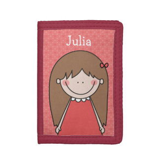 Cute Cartoon Girl, Red Background, Custom Text Trifold Wallet