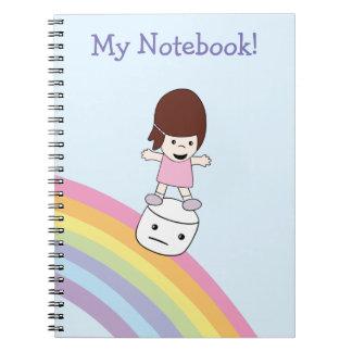 Cute Cartoon Girl w Rainbow & Marshmallow Notebook