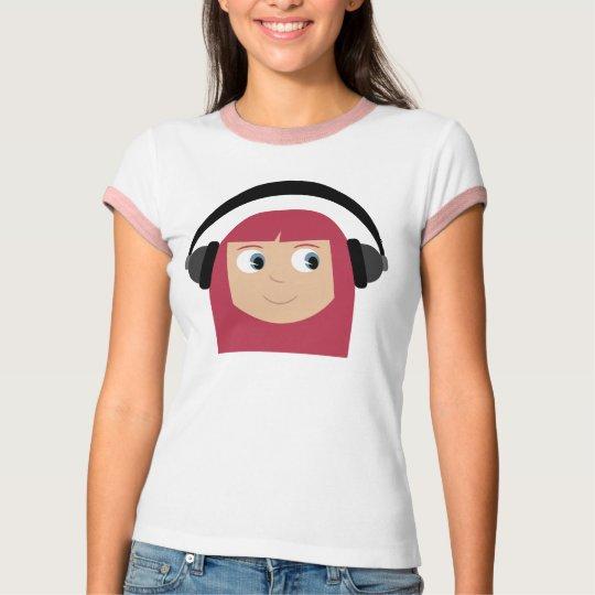 Cute cartoon girl with headphones T-shirt