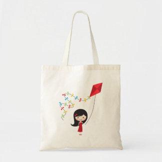 Cute cartoon girl with kite