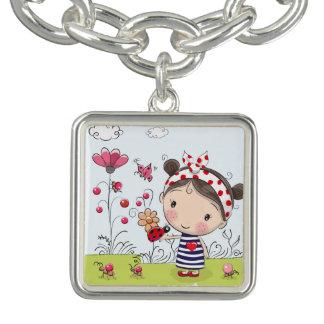 Cute Cartoon Girl with Ladybug in Garden Scene Bracelet
