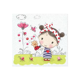 Cute Cartoon Girl with Ladybug in Garden Scene Canvas Print
