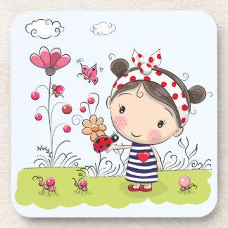 Cute Cartoon Girl with Ladybug in Garden Scene Coaster