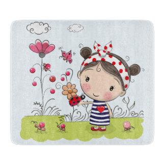 Cute Cartoon Girl with Ladybug in Garden Scene Cutting Board