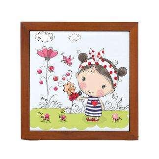 Cute Cartoon Girl with Ladybug in Garden Scene Desk Organizer