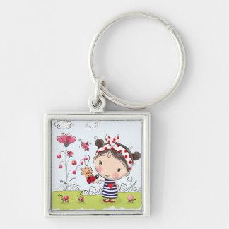 Cute Cartoon Girl with Ladybug in Garden Scene Keychain