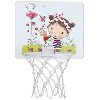 Cute Cartoon Girl with Ladybug in Garden Scene Mini Basketball Hoop