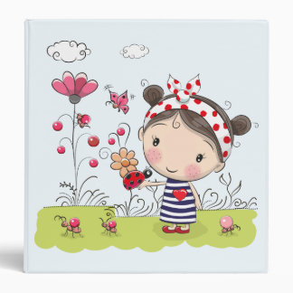 Cute Cartoon Girl with Ladybug in Garden Scene Vinyl Binders