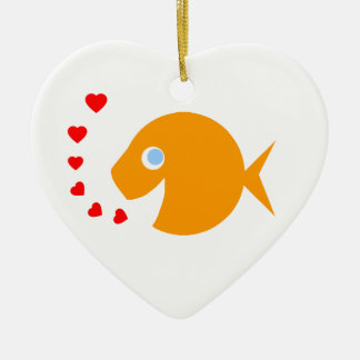 Cute Cartoon Goldfish with Blue Eyes Heart-Shaped Ceramic Heart Ornament