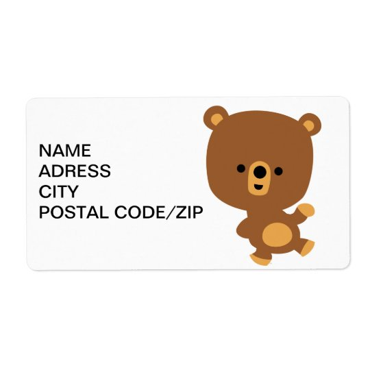 Cute Cartoon 'Good Vibe' Bear Avery Shipping Label