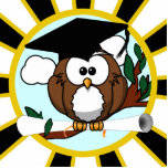 Cute Cartoon Graduating Owl w/Black & Gold Colours Standing Photo Sculpture