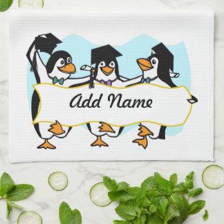 Cute Cartoon Graduating Penguins w/Banner Kitchen Towel