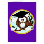 Cute Cartoon Graduation Owl With Cap & Diploma Greeting Cards