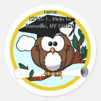 Cute Cartoon Graduation Owl With Cap & Diploma Classic Round Sticker