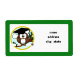 Cute Cartoon Graduation Owl With Cap & Diploma Personalized Shipping Label