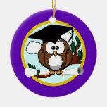 Cute Cartoon Graduation Owl With Cap & Diploma Christmas Tree Ornaments