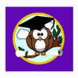 Cute Cartoon Graduation Owl With Cap & Diploma Cut Outs