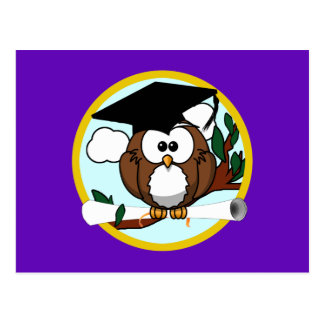 Cute Cartoon Graduation Owl With Cap Diploma Post Card