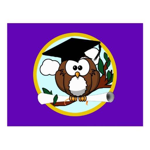 Cute Cartoon Graduation Owl With Cap & Diploma Post Card