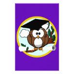 Cute Cartoon Graduation Owl With Cap & Diploma Stationery