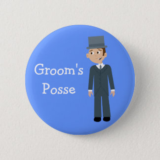 Cute Cartoon Groom's Posse Bachelor Party 2 Inch Round Button