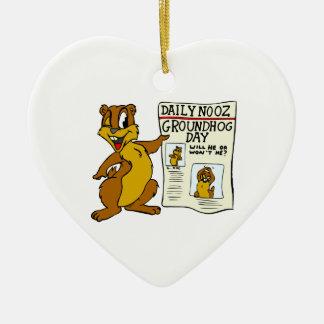 Cute Cartoon Groundhog w/ Groundhog Day Newpaper Ceramic Heart Ornament