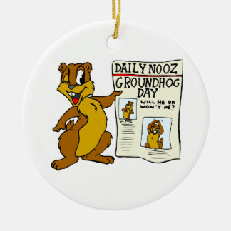 Cute Cartoon Groundhog w/ Groundhog Day Newpaper Round Ceramic Ornament
