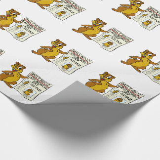 Cute Cartoon Groundhog w/ Groundhog Day Newpaper Wrapping Paper