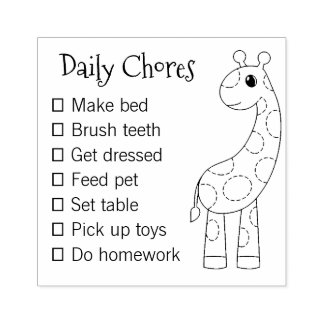 Cute Cartoon Guraffe Daily Chores List Rubber Stamp