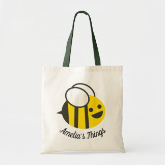 Cute Cartoon Happy Bee Personalised Tote Bag